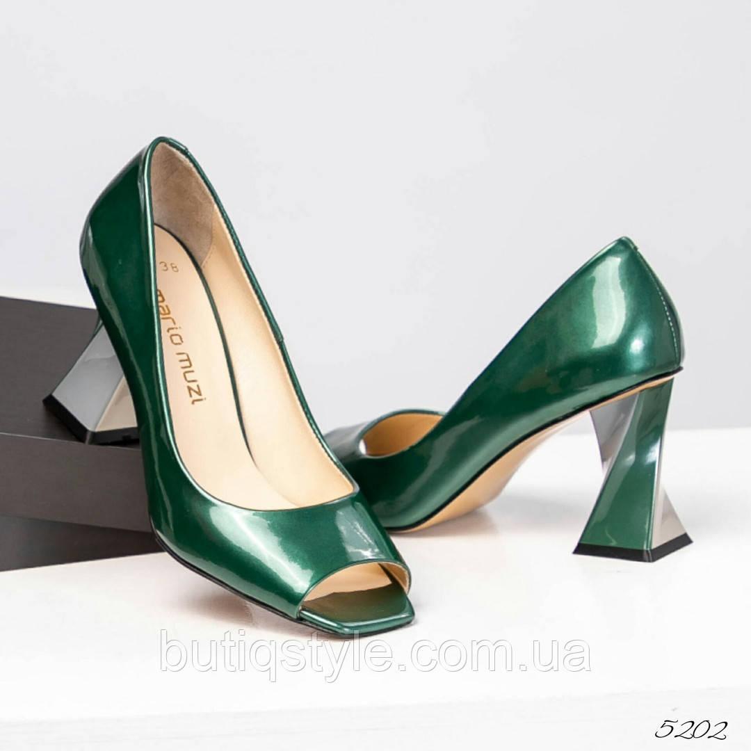 5cf9975e1 Элитные зеленые туфли женские на фигурном каблуке натуральная лаковая кожа  -