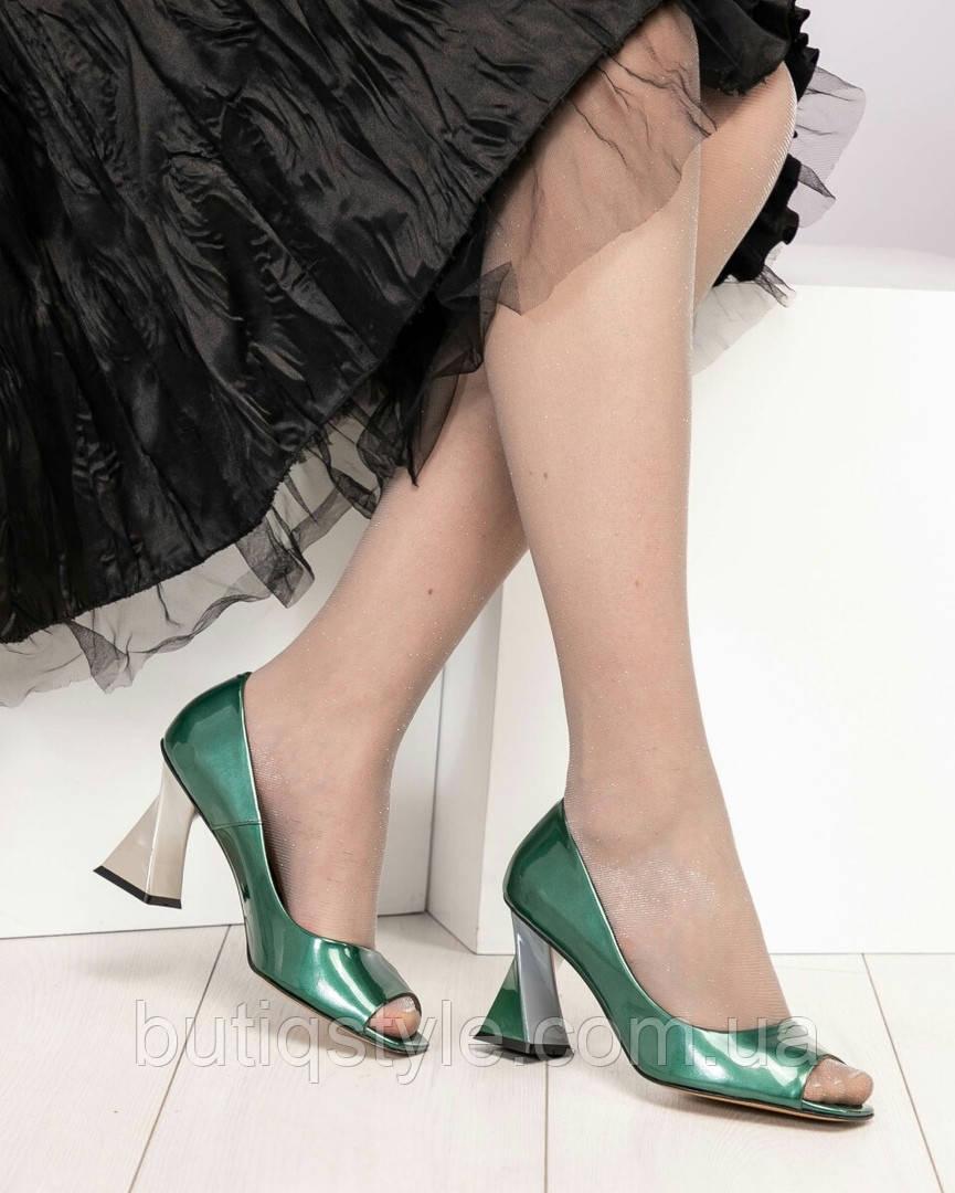 e18eb70d5 Элитные зеленые туфли женские на фигурном каблуке натуральная лаковая кожа,  цена 2 399 грн., купить Харків — Prom.ua (ID#932528570)