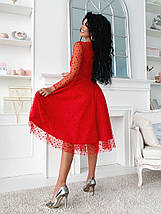 """Нарядное комбинированное миди-платье """"Kaila"""" с расклешенной юбкой (5 цветов), фото 2"""