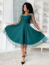 """Нарядное комбинированное миди-платье """"Kaila"""" с расклешенной юбкой (5 цветов), фото 3"""