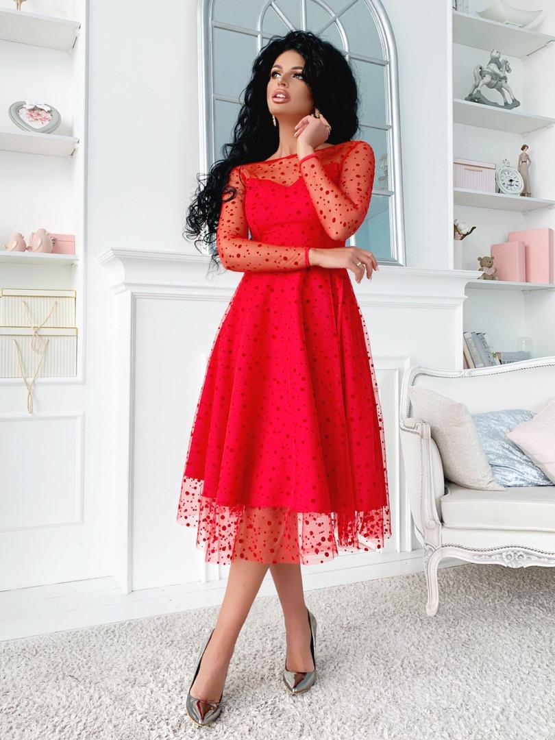 """Нарядное комбинированное миди-платье """"Kaila"""" с расклешенной юбкой (5 цветов)"""