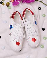 Белые  кеды со звездами, фото 1