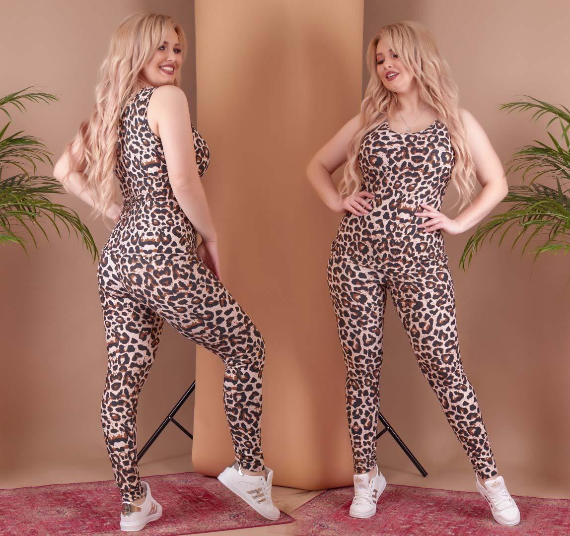 """Женский домашний комплект-пижама леггинсы + маечка в больших размерах 188-1 """"Леопард"""""""