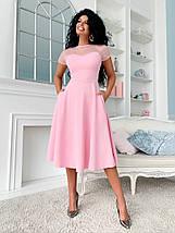 """Приталенное комбинированное платье-миди """"Дейзи"""" с карманами (5 цветов), фото 3"""