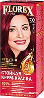 7.0 крем-фарба для волосся NEW Флорекс КЕРАТИН Божоле