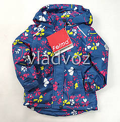 Детская демисезонная куртка для девочек синяя цветок размеры 2-3 года