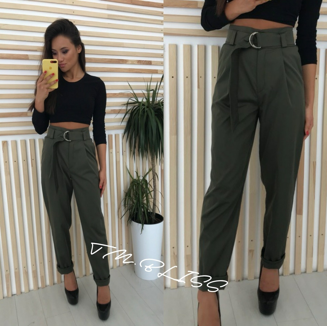 Женские брюки с завышенной талией на поясе