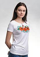 Модна жіноча вишита футболка у білому кольорі із квітами «Макове поле», фото 1