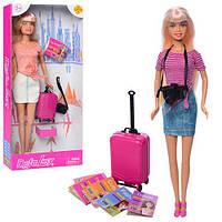 Кукла DEFA 8377-BF (48шт) 29см, чемодан, фотоаппарат, 2вида, в кор-ке, 15-32-5см