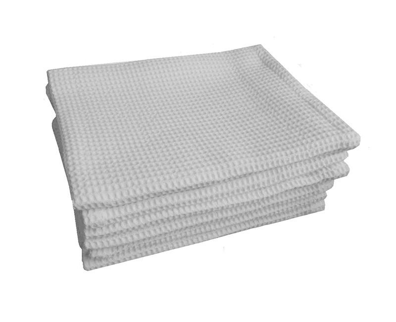 Полотенце хлопчатобумажное вафельное белое 75 см х 45 см