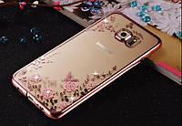 Силиконовый чехол с цветами и стразами для Samsung Galaxy S7 Edge