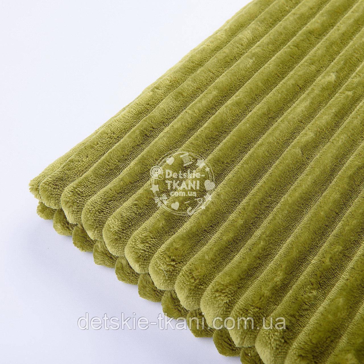 Лоскут плюша в полоску Stripes тёмно-оливкового цвета 40*160 см
