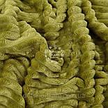 Лоскут плюша в полоску Stripes тёмно-оливкового цвета 40*160 см, фото 2
