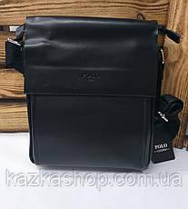 Мужская сумка Polo черного цвета на два отдела,  длинный регулируемый ремешок, магнитный клапан, фото 3