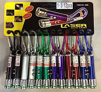 Мини-фонарик и лазер 3в1, ультрафиолет, на карабине