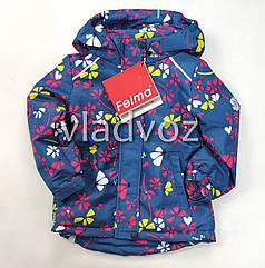 Детская демисезонная куртка для девочек синяя цветок размеры 4-5 лет