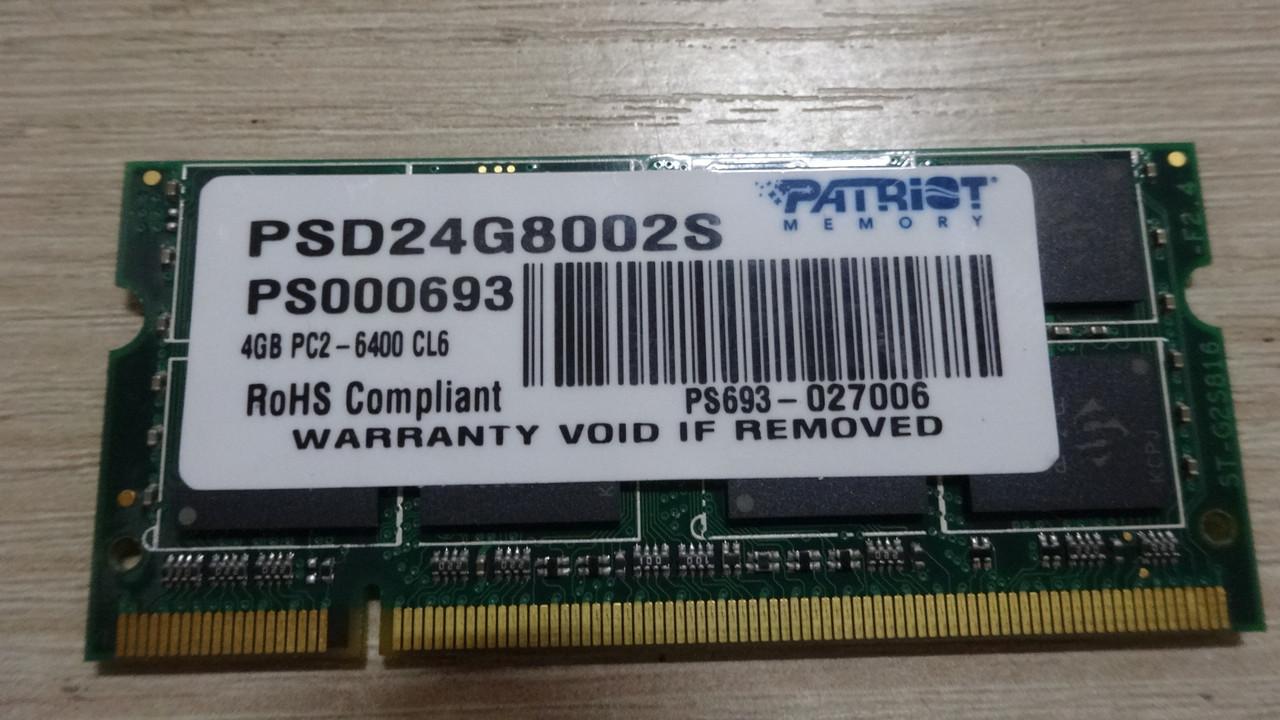 Продам sodimm ddr2 4gb 800mhz pc2-6400 CL6