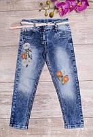Выбеленные джинсы с ремешком и вышивкой, фото 1