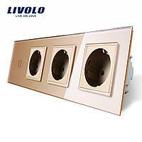 Сенсорный выключатель с тремя розетками Livolo, цвет золото, стекло (VL-C701/C7C3EU-13), фото 1