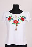 """Вышиванка  футболка """" Мак ромашка """"женская  трикотаж  ( С.Е.С.)"""
