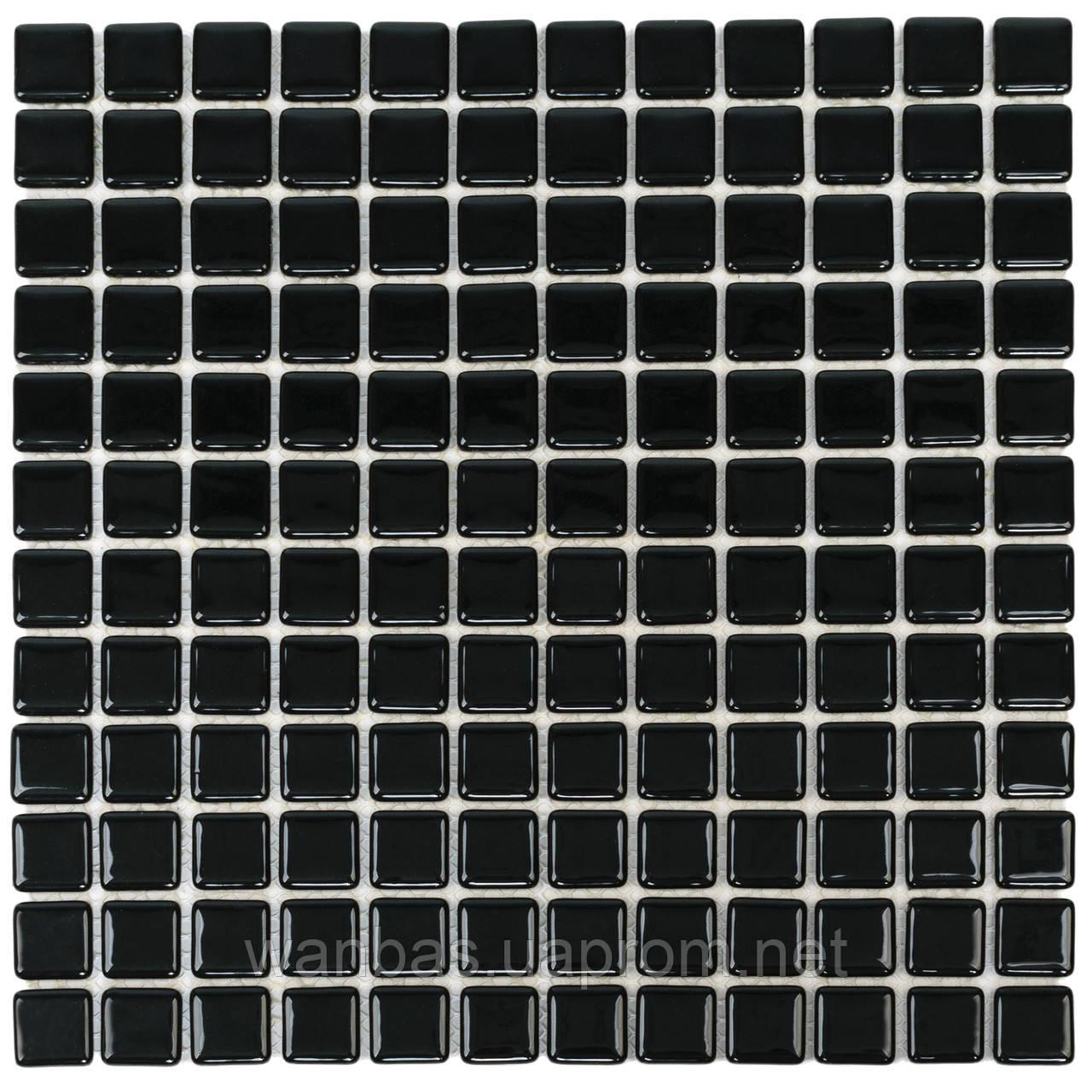 Черная стеклянная мозаика с закругленными краями   Black MK25109 25х25 мм.