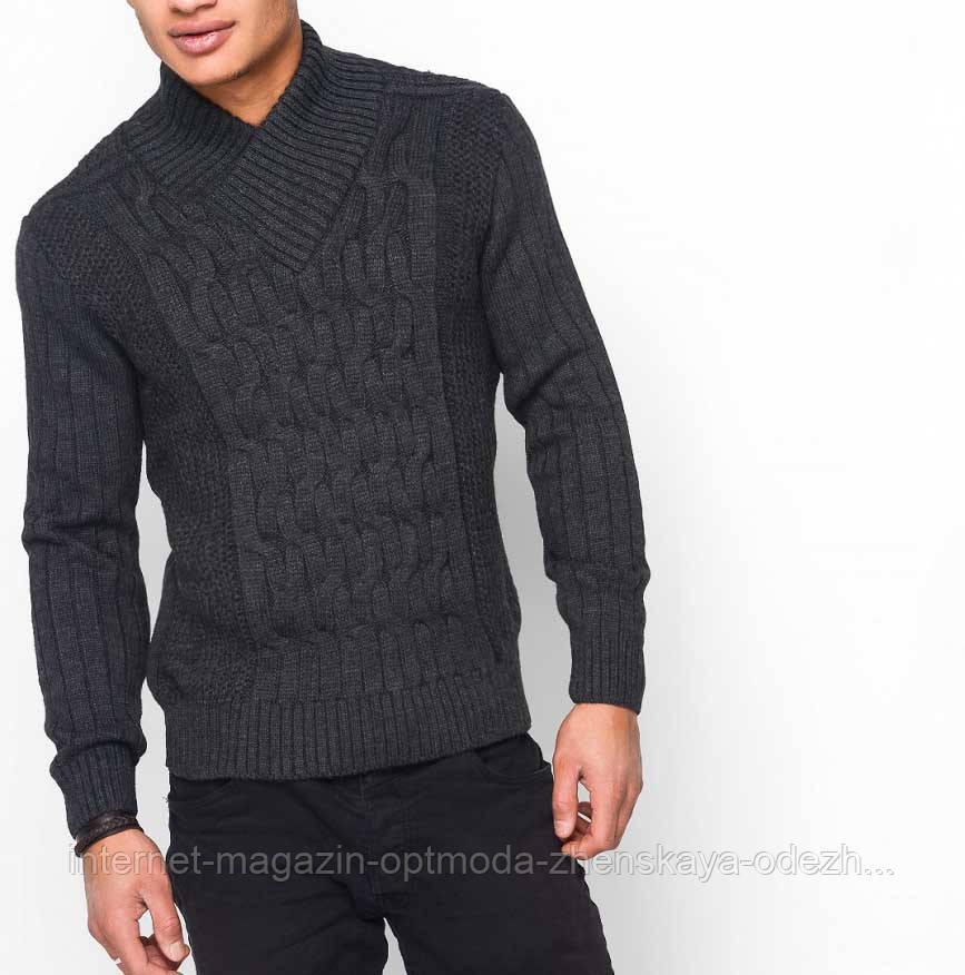 Зимний мужской свитер с оригинальным воротником
