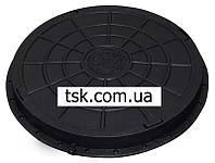 Люк садовый пластмассовый легкий с замком (черный)
