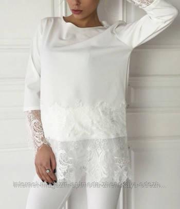 Женская блузка с кружевом