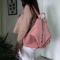 """Женский кожаный рюкзак """"London"""" розовый флотар, фото 1"""