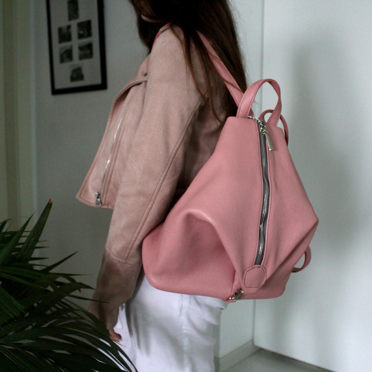 """Женский кожаный рюкзак """"London"""" розовый флотар"""