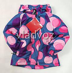 Детская демисезонная куртка для девочек синие круги 7-8 лет