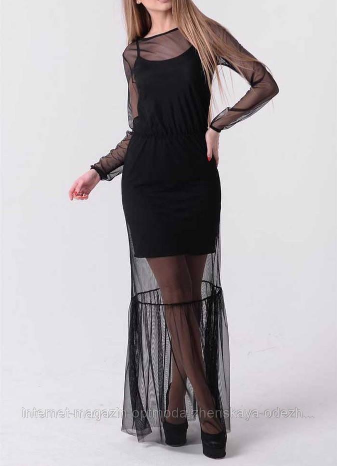Длинное платье-майка