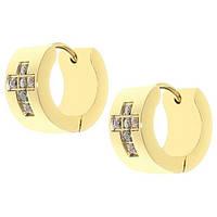 Женские серьги кольца позолоченные из стали с фианитами 13мм|7мм 103331