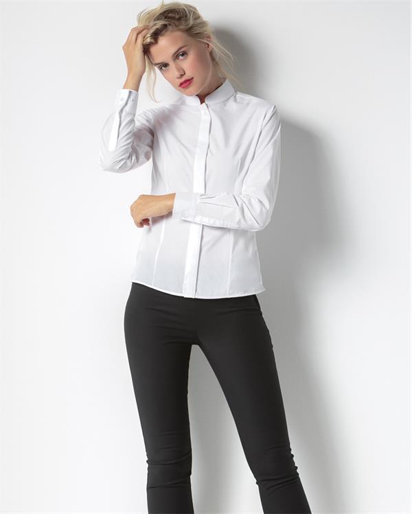 Рубашка для официанта женская с потайной планкой и длинным рукавом белая Atteks - 02305