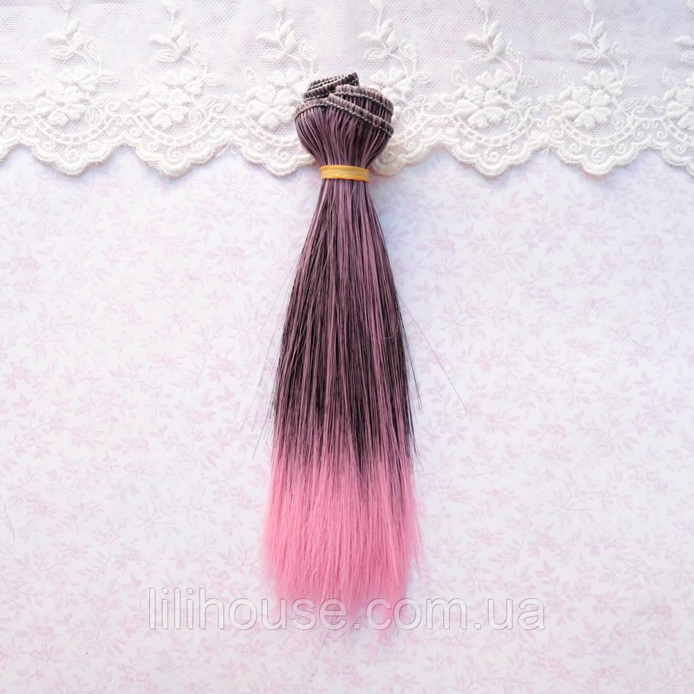Волосы для Кукол Трессы Омбре ЧЕРНЫЕ с ЯРКО-РОЗОВЫМ 25 см