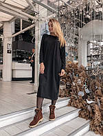 6e480190d63 Женское черное теплое платье из тонкой вязки миди длины