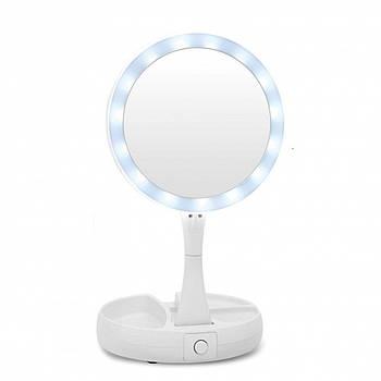 Зеркало с led подсветкой My Foldaway Mirror светодиодное складное вращение 360 градусов для макияжа