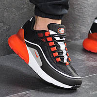 Кроссовки демисезонные мужские Nike 7571 чёрные с оранжевым купить распродажа , фото 1