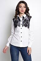 Белая женская блузка c черным кружевом FERA, фото 1