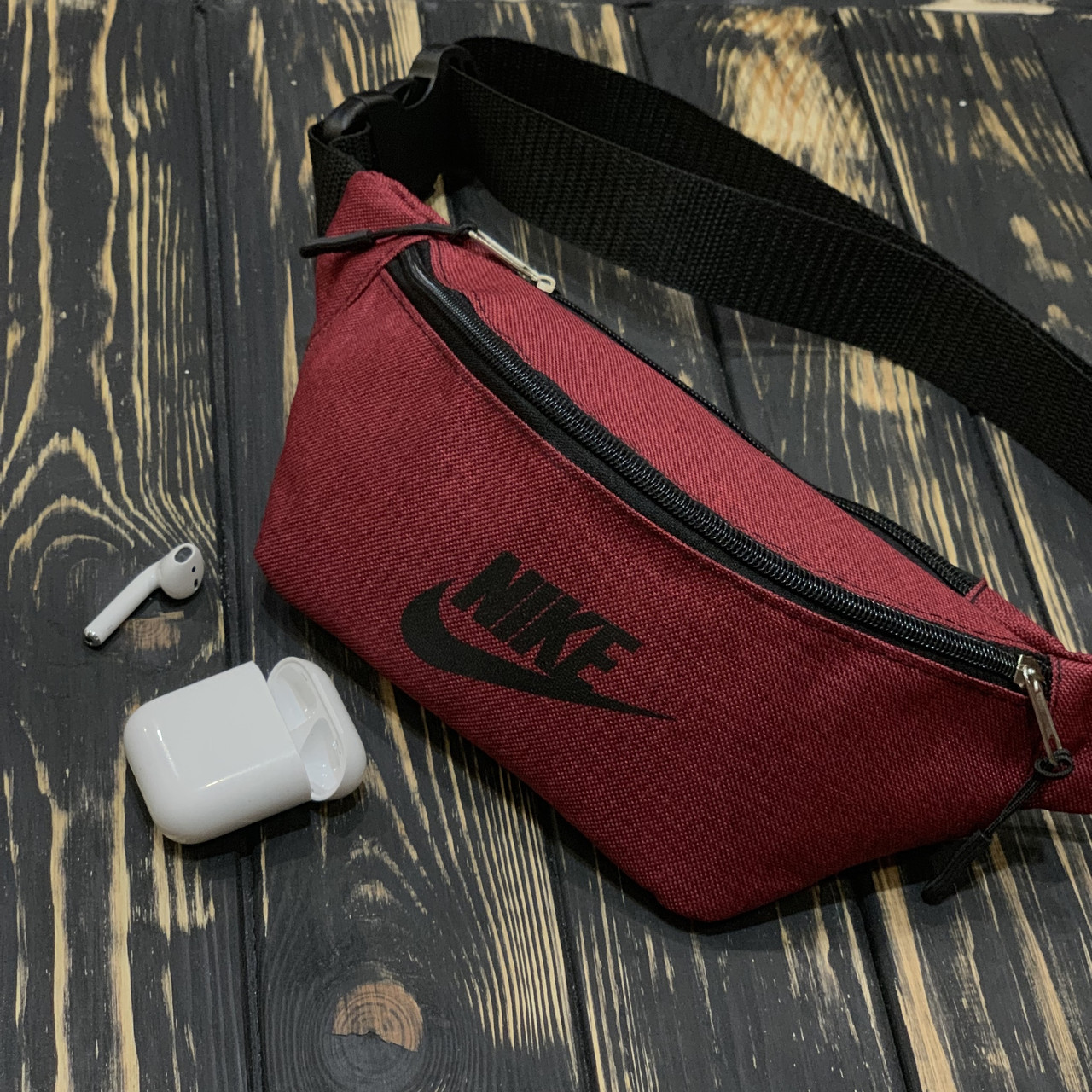 16edf460 Поясная сумка, бананка, сумка на пояс Nike, цвет красный, материал Kiten