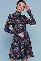 Темно-синее платье с принтом, фото 1