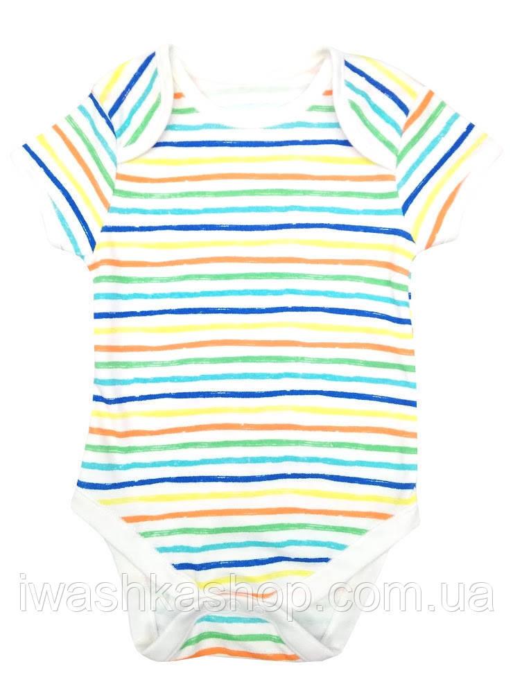 Белое боди с коротким рукавом в полоску для новорожденных малышей до 4,5 кг. р. 56, Primark baby