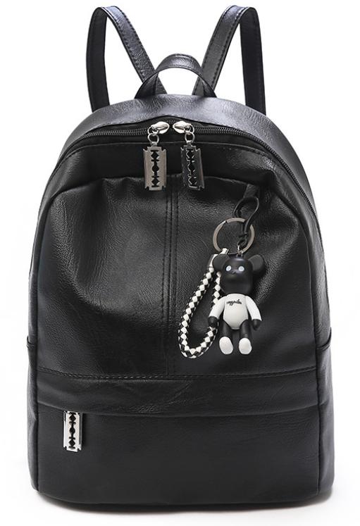 Рюкзак женский PU чёрный кожзам с брелком