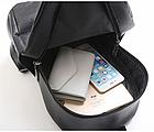 Рюкзак женский PU чёрный кожзам с брелком, фото 6