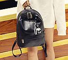 Рюкзак женский PU чёрный кожзам с брелком, фото 3