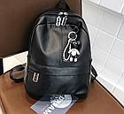 Рюкзак женский PU чёрный кожзам с брелком, фото 4