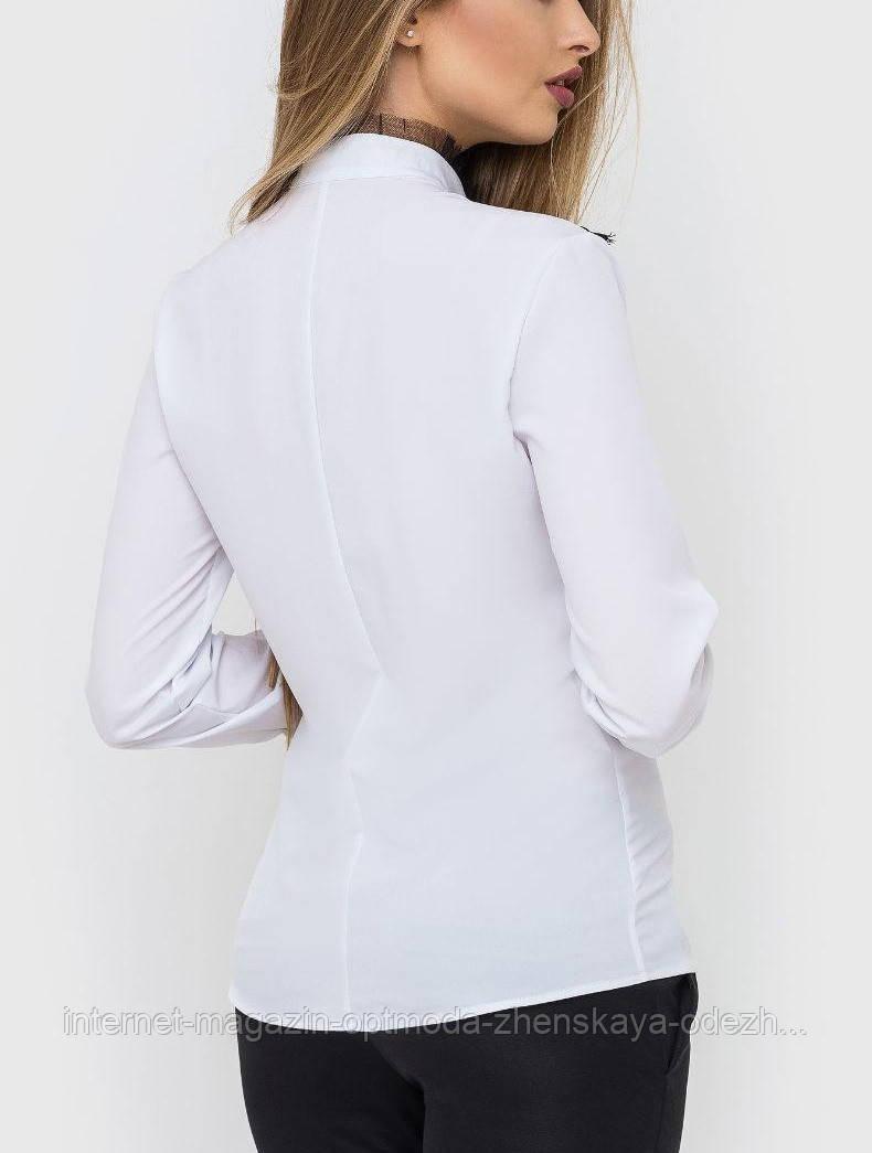 Белая женская блузка волан с кружевами. Женская официальная одежда оптом. Блузки по оптовым ценам