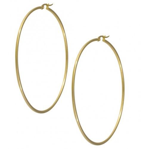 Серьги кольца позолоченные из стали 55 мм 101948