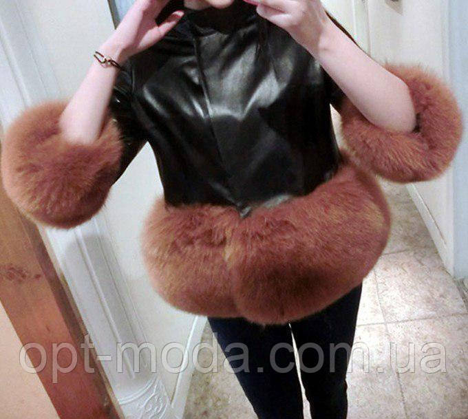 Стильная женская кожаная куртка с искусственным мехом, черный, XL/XXL