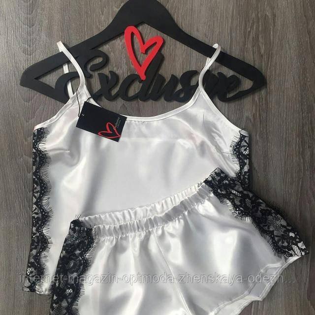 Женская пижама, атлас, французское кружево, размер 44-46, 40-42, 48-50, белый